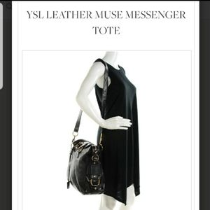 Yves Saint Laurent muse messenger leather tote bag